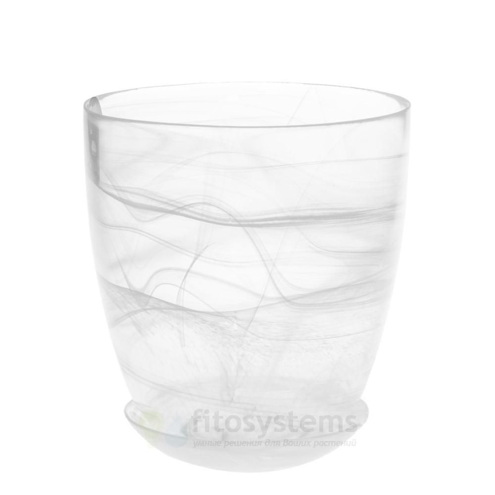 Кашпо прозрачное белое диаметр 13 см
