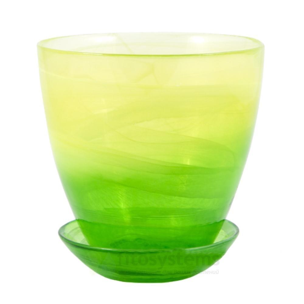Кашпо Жёлто-зеленое диаметр 14,5 см