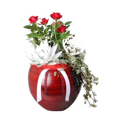 Композиция с красной розой в керамике