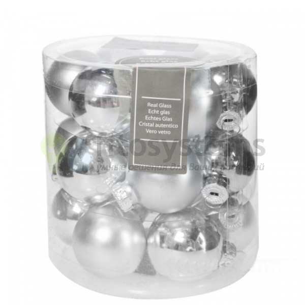 Набор 18 шт. мини-шариков Серебро