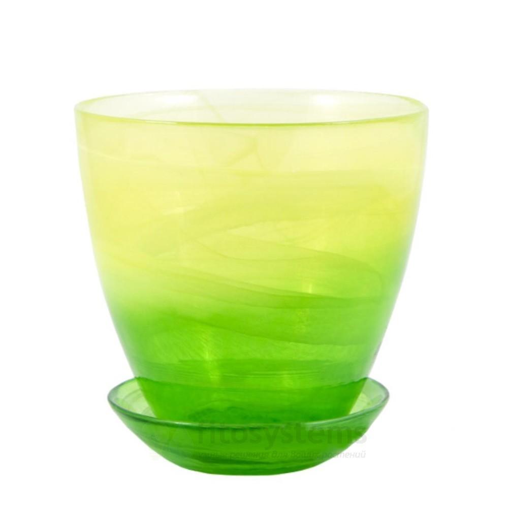 Кашпо Жёлто-зеленое диаметр 13 см