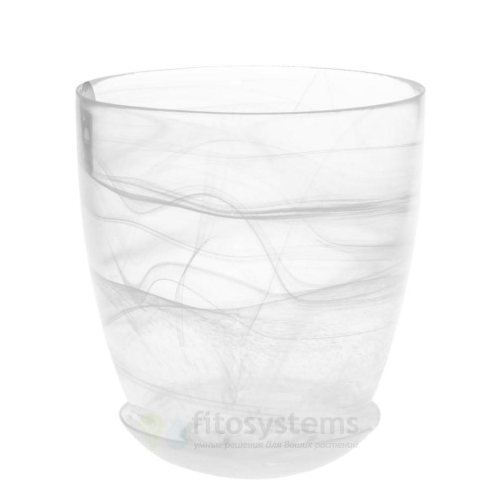 Кашпо прозрачное Белое диаметр 14,5 см