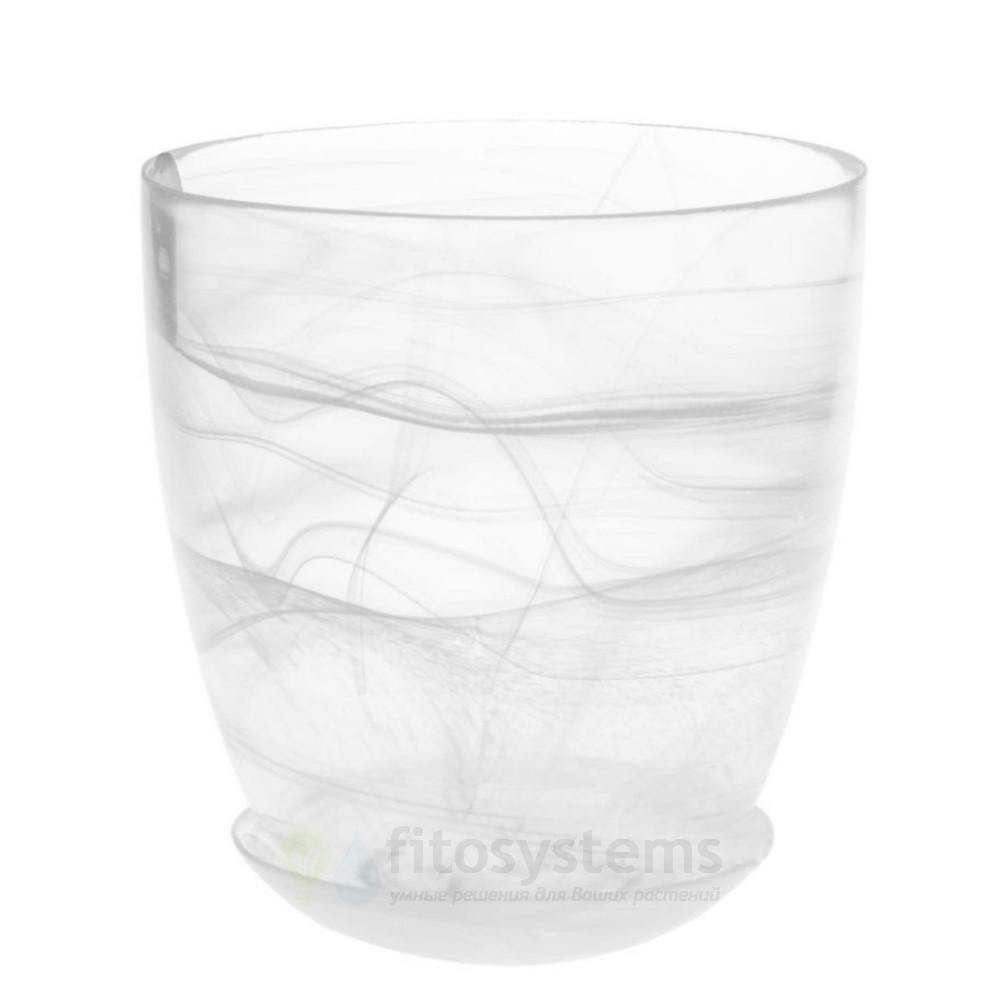 Кашпо прозрачное Белое диаметр 15,5 см